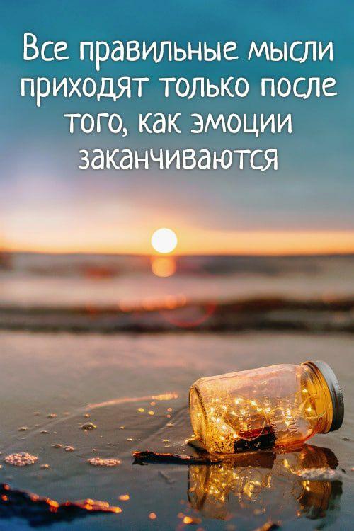 Все правильные мысли приходят только после того, как эмоции заканчиваются
